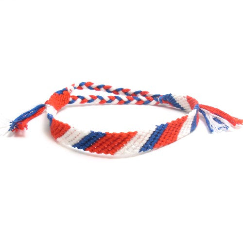 red white and blue thick friendship bracelet