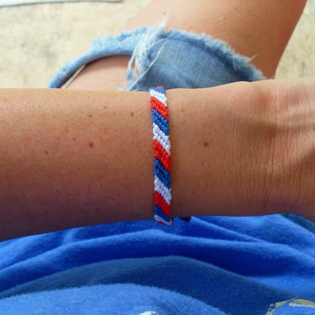 Red, White, and Blue Thick Friendship Bracelet