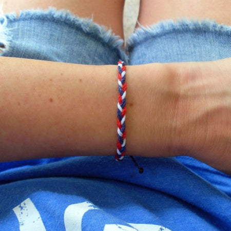 Red, White, and Blue Pony Bead Bracelet Stack