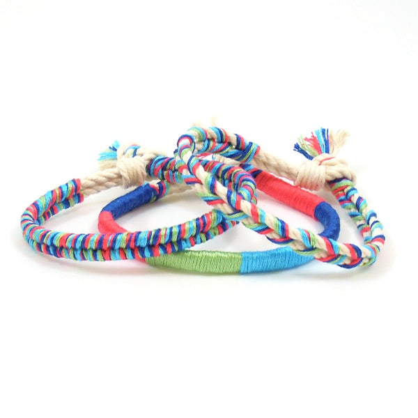 bright colored braided bracelets