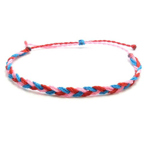 red, blue, and pink braided summer bracelet