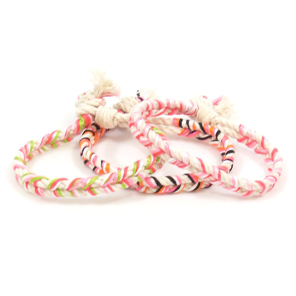 set of 3 pink summer bracelets