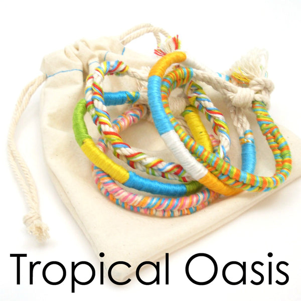 tropical boho bracelets set of 5