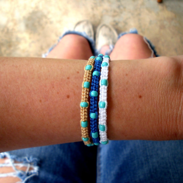 Turquoise Beaded Beach Bracelets