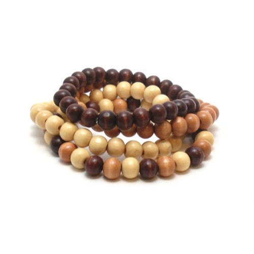wood summer bracelet stack