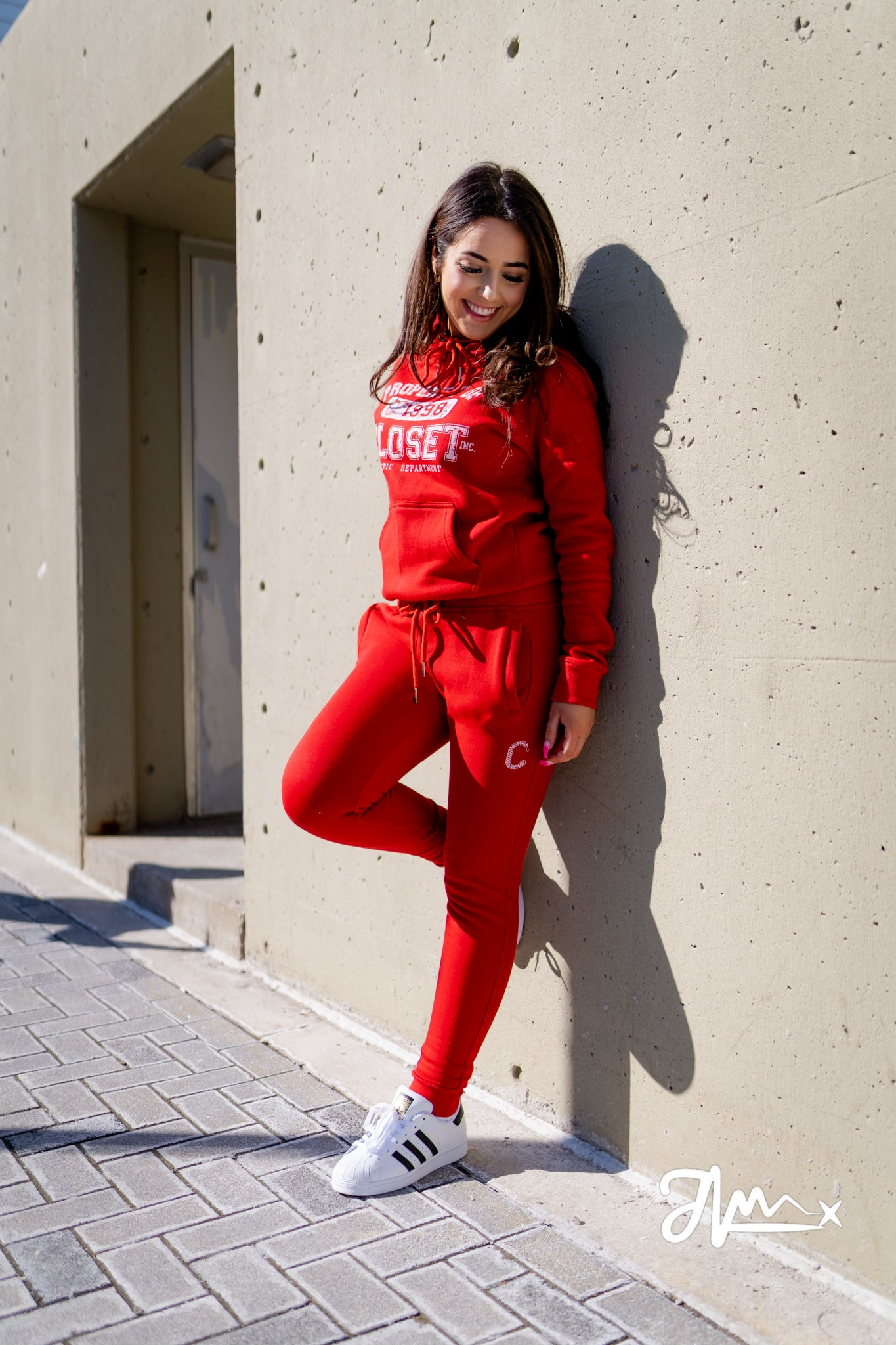 "The Closet Inc Womens Fleece Pull Over – RED ""PROPERTY OF"""