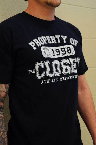 "THE CLOSET INC Men Curved Hem T-Shirts – NAVY ""PROPERTY OF"""