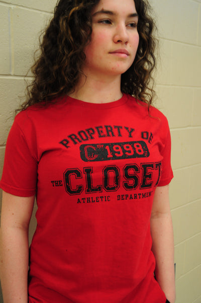 "The Closet Inc Women T-Shirt – RED ""PROPERTY OF""- BLACK"