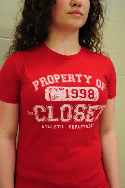 "The Closet Inc Women T-Shirt – RED ""PROPERTY OF""-WHITE"
