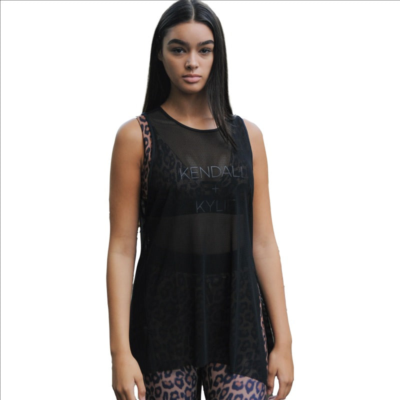 Women's Black Mesh Knotted Tank