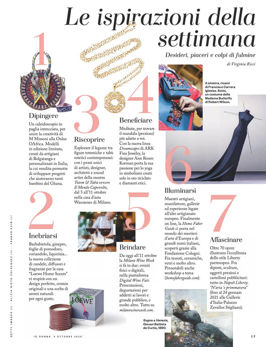 Shakti Necklace is Inspiration of the Week in Io Donna-Milan, Italy