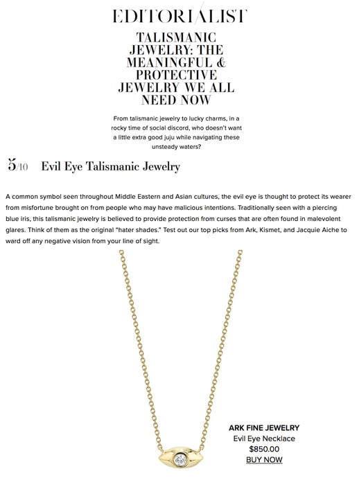 ARK featured in Editorialist, Talismanic Jewelry: The Meaningful & Protective Jewelry We All Need Now
