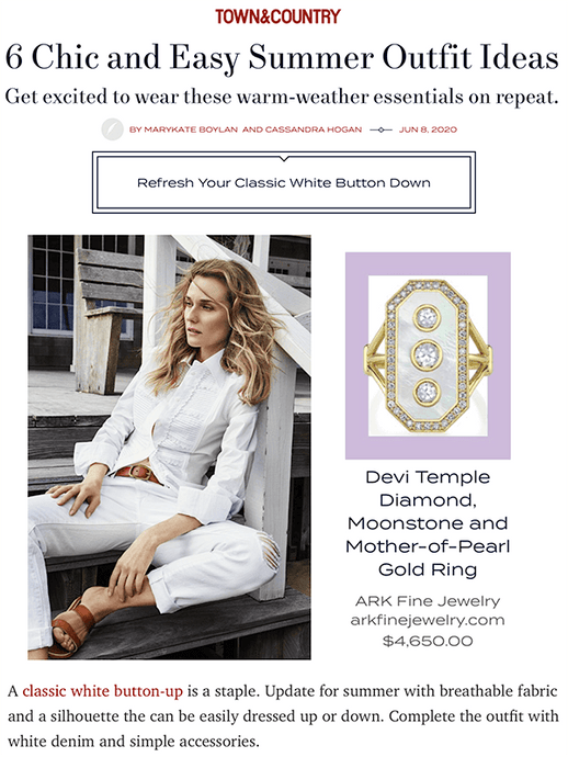 Devi Temple Diamond, Moonstone and Mother-of-Pearl Gold Ring featured in Town & Country