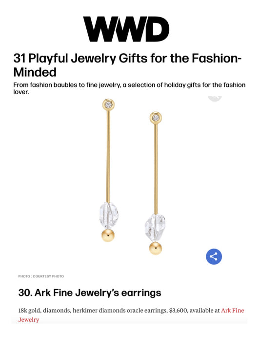Oracle Earrings featured in WWD's Playful Jewelry Gifts for the Fashion-Minded