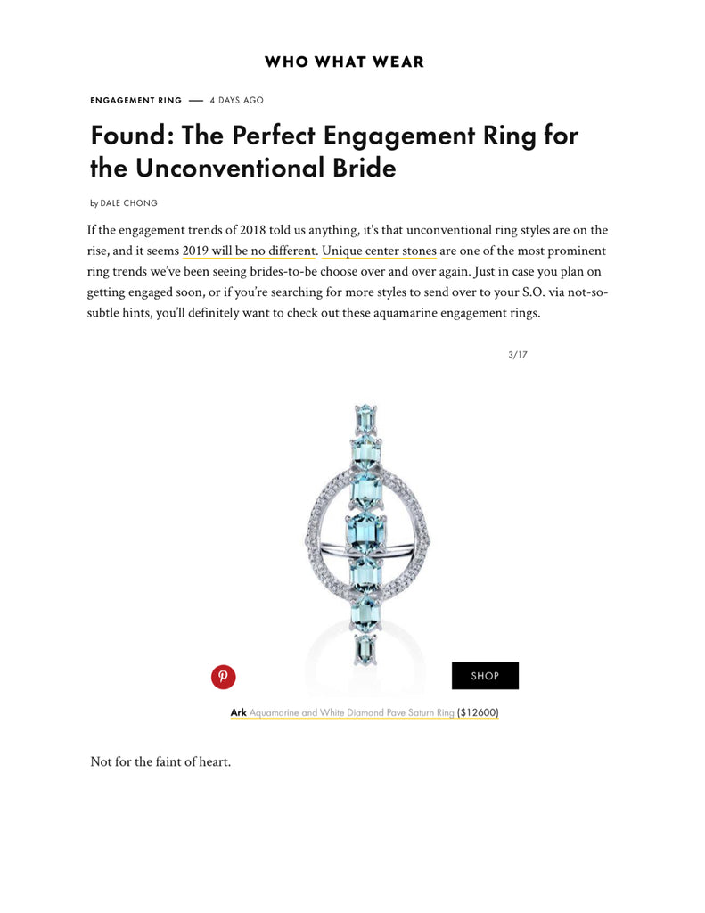 Our Aquamarine Saturn Ring is featured on Who What Wear