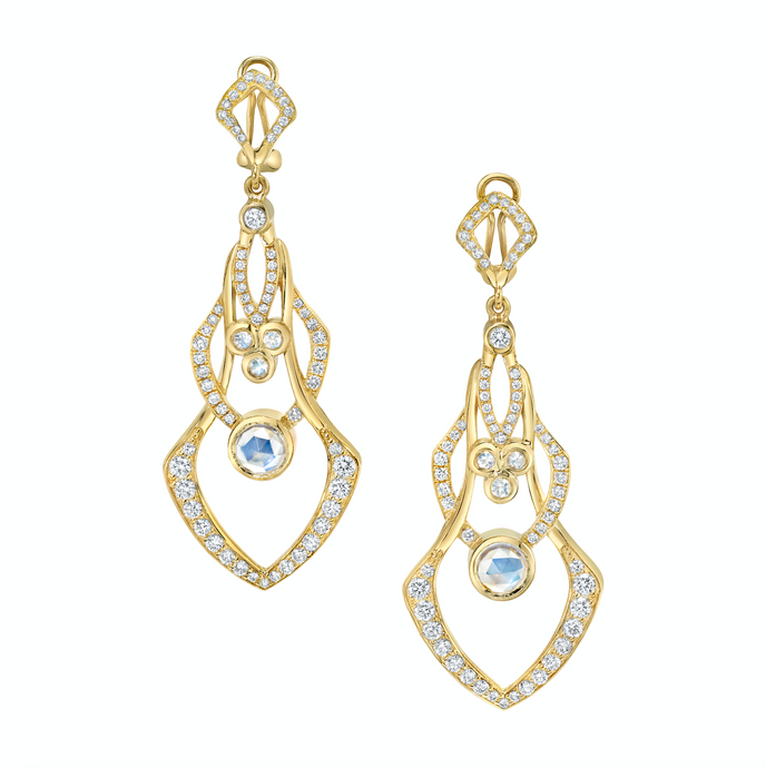 "Diamond and Moonstone Illusion Earrings in National Jeweler ""Amanda's Style File: Alexandrite and Moonstone"""