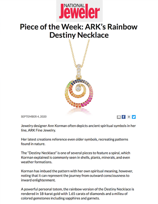 Rainbow Destiny Necklace featured in National Jeweler
