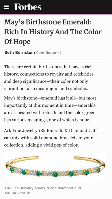 Emerald & Diamond Elixir Gold Cuff featured in Forbes, May's Birthstone Emerald