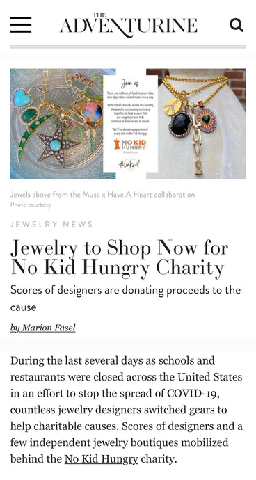 ARK featured in The Adventurine, Jewelry to Shop Now for No Kid Hungry Charity