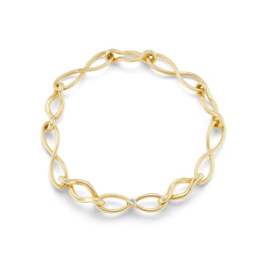 Handmade Infinity Gold Link Bracelet with Diamonds