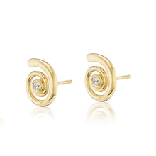 Load image into Gallery viewer, Gold Destiny and Diamond Stud Earrings