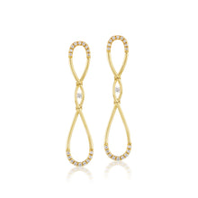 Load image into Gallery viewer, Diamond Infinity Gold Long Earrings