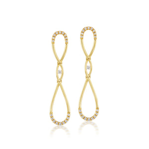 Diamond Infinity Gold Long Earrings