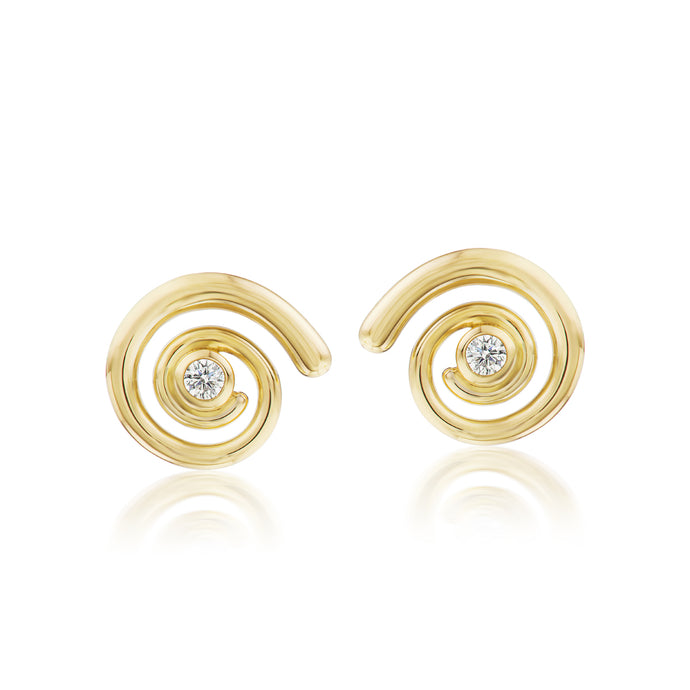 Gold Destiny and Diamond Stud Earrings
