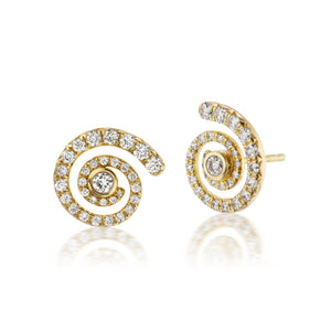 Destiny Diamond Pave Gold Stud Earrings