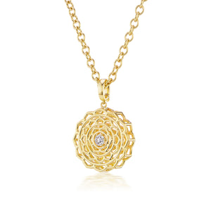 Dreamscapes Motif Gold Necklace with Diamond Center