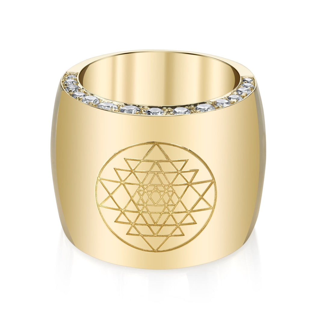 Diamond Halo Gold Ring with Sri Yantra Engraving
