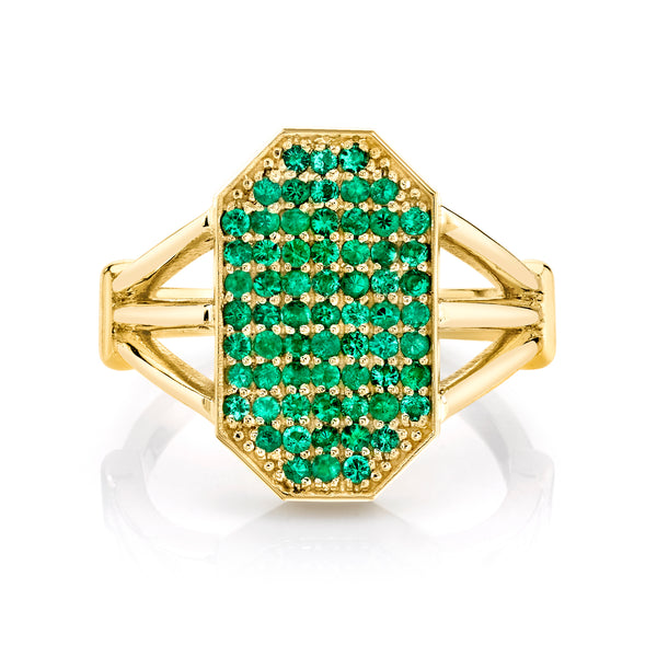 Emerald Devi Shield Ring
