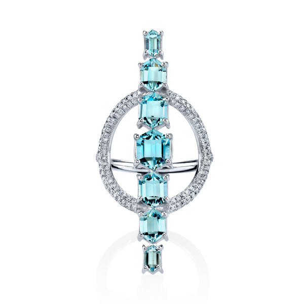 Aquamarine and White Diamond Pave Saturn Ring