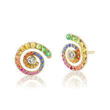 Load image into Gallery viewer, Rainbow Sapphire Destiny Gold Earrings