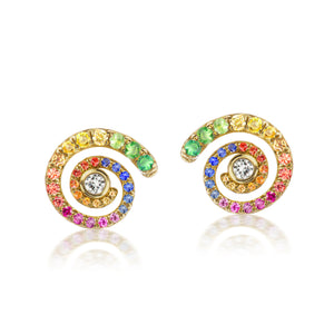 Rainbow Sapphire Destiny Gold Earrings