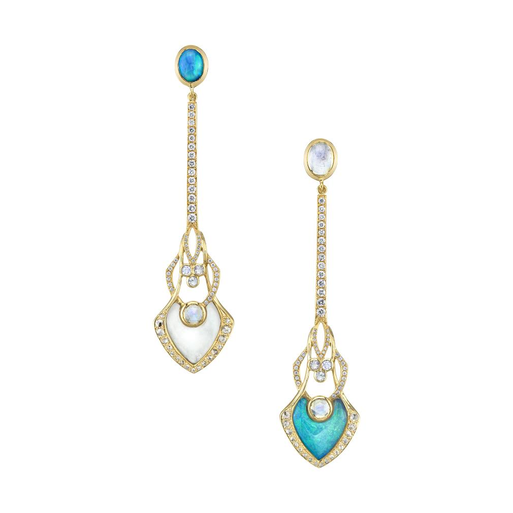 Opal, Moonstone, and Diamond Illusion Gold Earrings