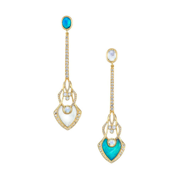 Mixed Opal, Diamond, Moonstone, and Rock Crystal Illusion Earrings