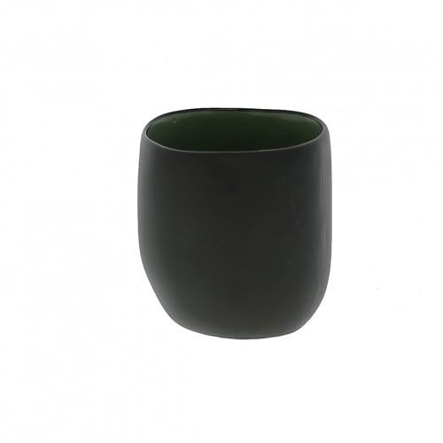 Tall Stoneware Tealight Vase - Black/Green