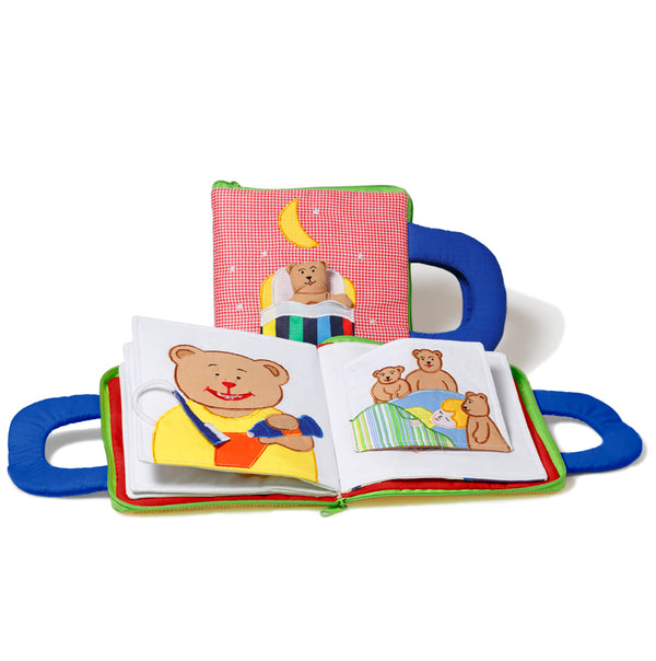 Oskar & Ellen Red Fabric Goodnight Teddy book - I Want That Present