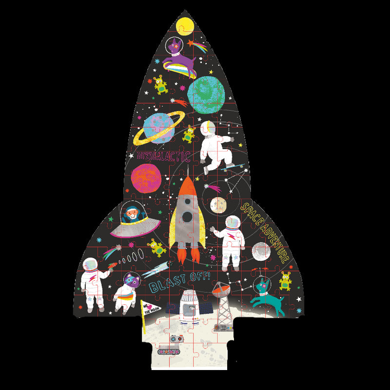 "Space 80pc Rocket"" Shaped Puzzle"""