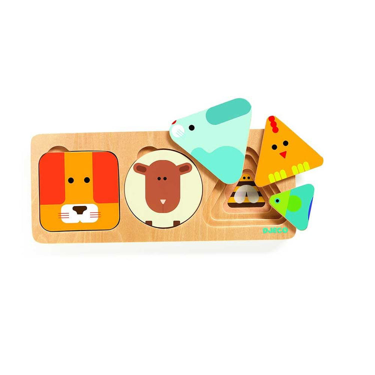 Djeco Wooden 3 Layer Puzzle Anima Basic - I Want That Present