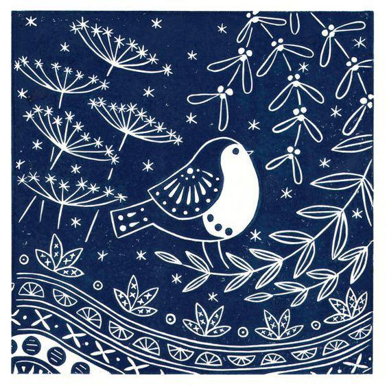 Jacinta Robin Midnight Blue, Greetings Card