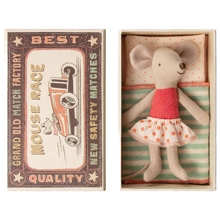 Maileg Little Sister Matchbox Mouse - Orange Dotty Skirt