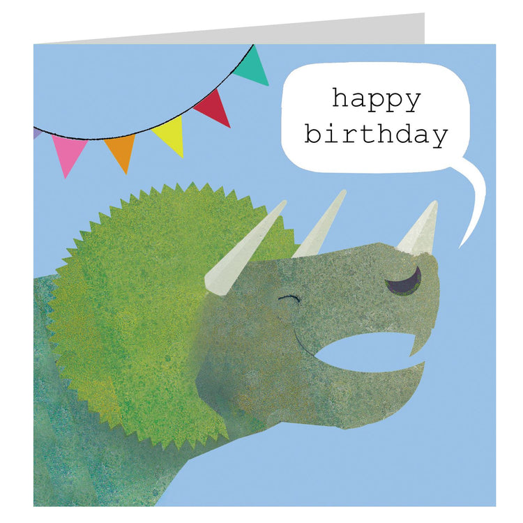 Birthday Card - Triceratops - I Want That Present