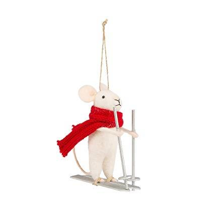 Skiing Felt Mouse Decoration