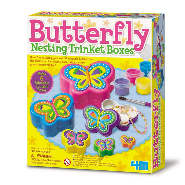 4M Paint Your Own Nesting Butterfly Trinket Boxes