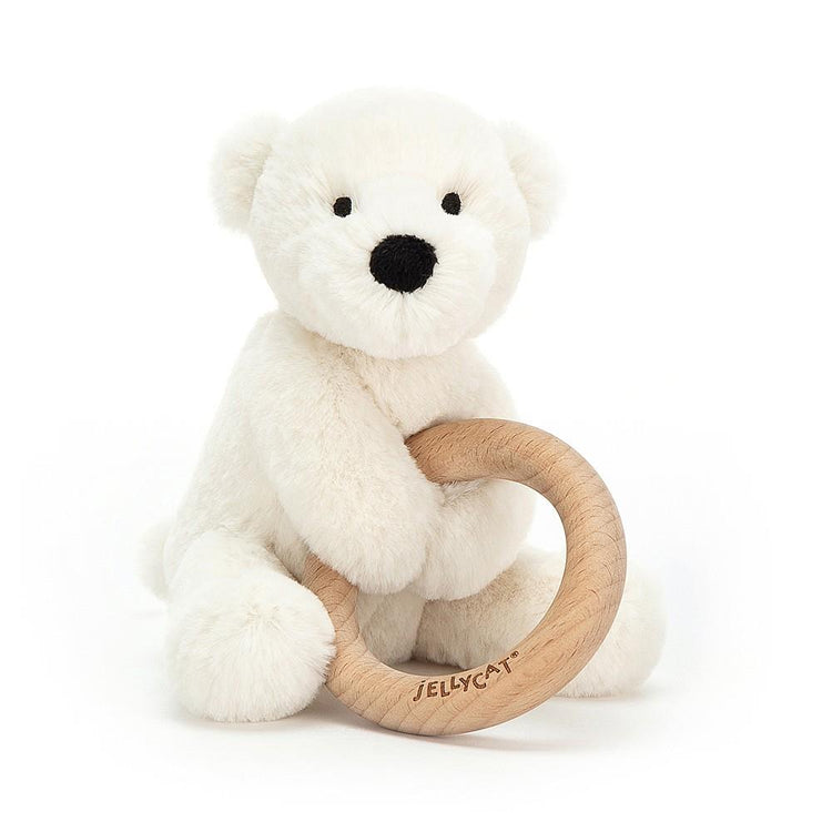 Jellycat Shooshu Percy Polar Bear Wooden Ring Toy