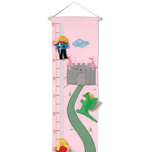 Oskar & Ellen Pink Fabric Princess Height Chart - I Want That Present