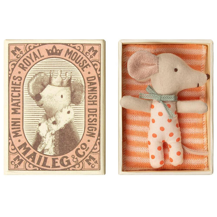 Maileg Baby Girl Sleepy-Wakey Matchbox Mouse - 2019