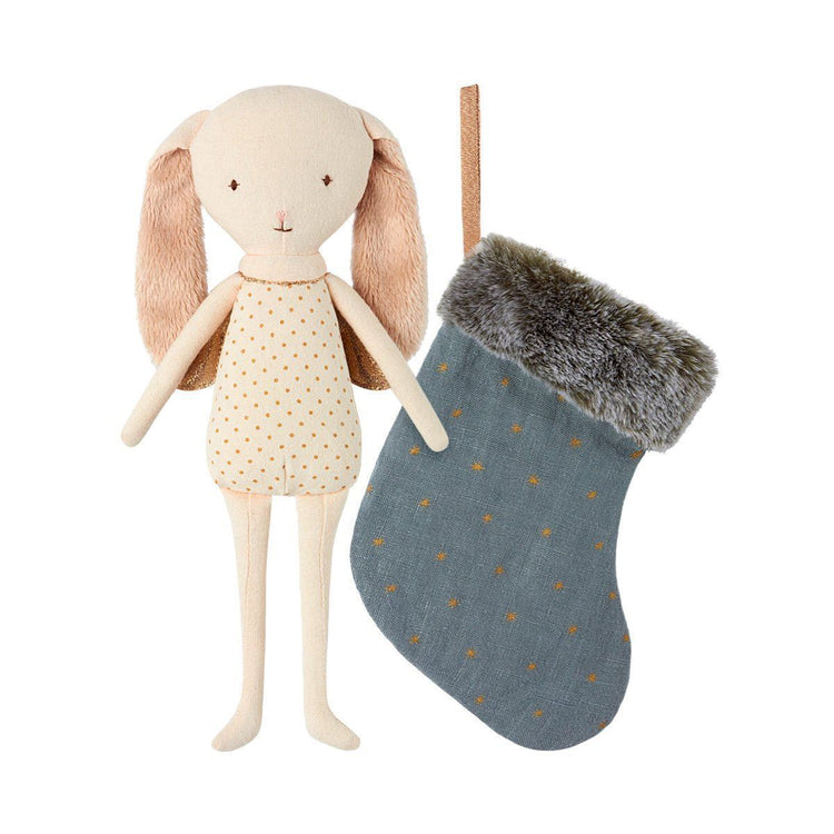 Maileg Bunny Angel with a Blue Stocking